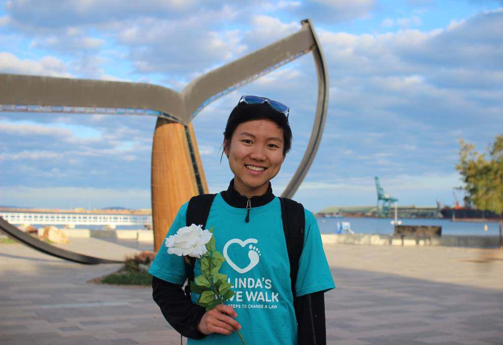 Dying with dignity: Perth woman Belinda Teh in Esperance on her walk for change to voluntary assisted dying laws. Photo: Jesinta Burton.