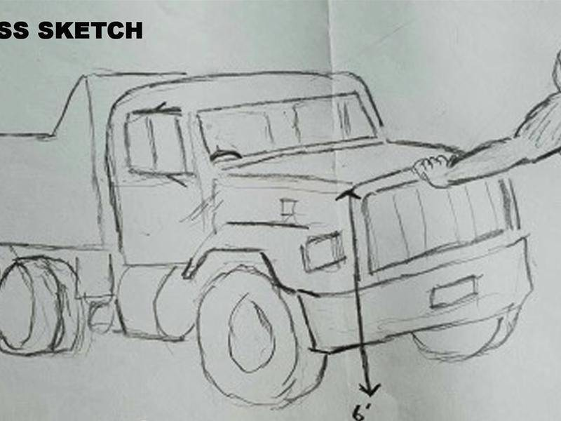 Truck driver Gary's sketch of the 'yowie' he claims to have spotted inland from the Gold Coast.