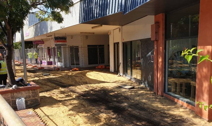 Mall make-over: New paving is going in on the south side of the Smart Street mall. Photo: City of Mandurah.